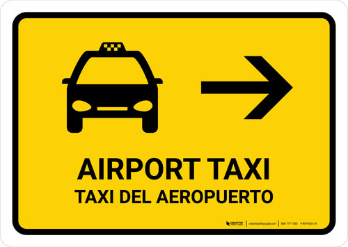 Airport Taxi With Right Arrow Yellow Bilingual Landscape - Wall Sign