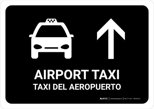 Airport Taxi With Up Arrow Black Bilingual Landscape - Wall Sign