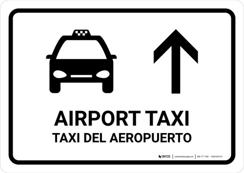 Airport Taxi With Up Arrow White Bilingual Landscape - Wall Sign