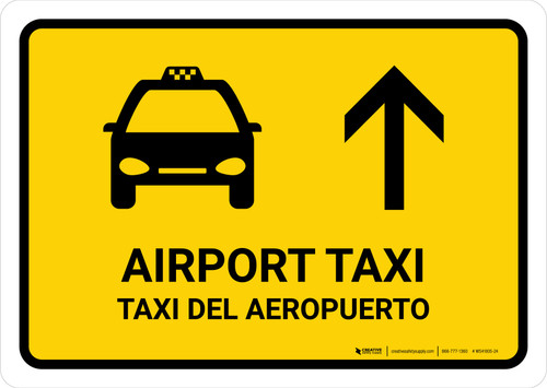 Airport Taxi With Up Arrow Yellow Bilingual Landscape - Wall Sign