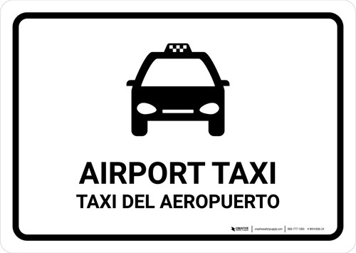 Airport Taxi White Bilingual Landscape - Wall Sign
