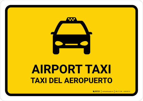 Airport Taxi Yellow Bilingual Landscape - Wall Sign