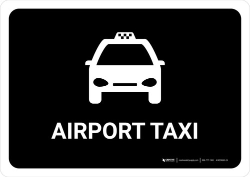 Airport Taxi Black Landscape - Wall Sign