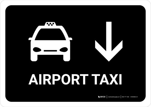 Airport Taxi With Down Arrow Black Landscape - Wall Sign