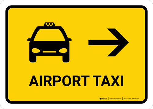 Airport Taxi With Right Arrow Yellow Landscape - Wall Sign