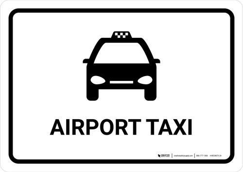 Airport Taxi White Landscape - Wall Sign