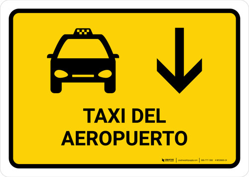 Airport Taxi With Down Arrow Yellow Spanish Landscape - Wall Sign