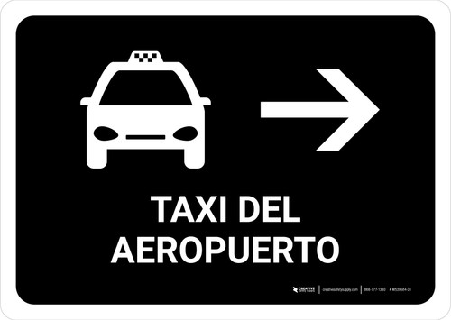 Airport Taxi With Right Arrow Black Spanish Landscape - Wall Sign