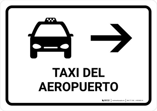 Airport Taxi With Right Arrow White Spanish Landscape - Wall Sign