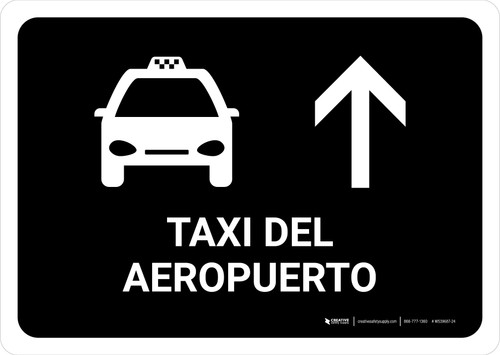Airport Taxi With Up Arrow Black Spanish Landscape - Wall Sign
