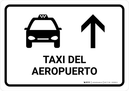 Airport Taxi With Up Arrow White Spanish Landscape - Wall Sign
