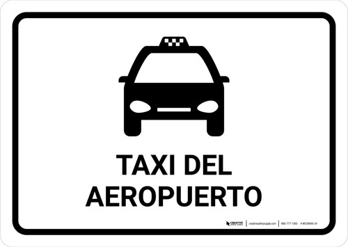 Airport Taxi White Spanish Landscape - Wall Sign