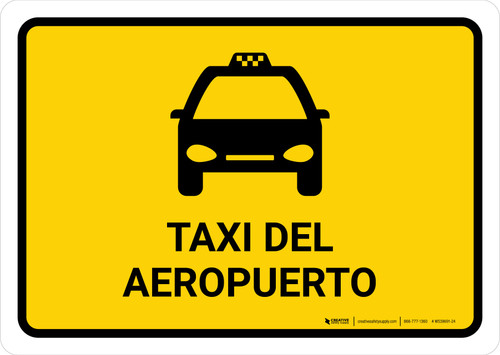 Airport Taxi Yellow Spanish Landscape - Wall Sign