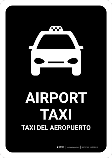 Airport Taxi Black Bilingual Portrait - Wall Sign