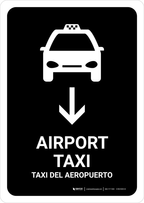 Airport Taxi With Down Arrow Black Bilingual Portrait - Wall Sign