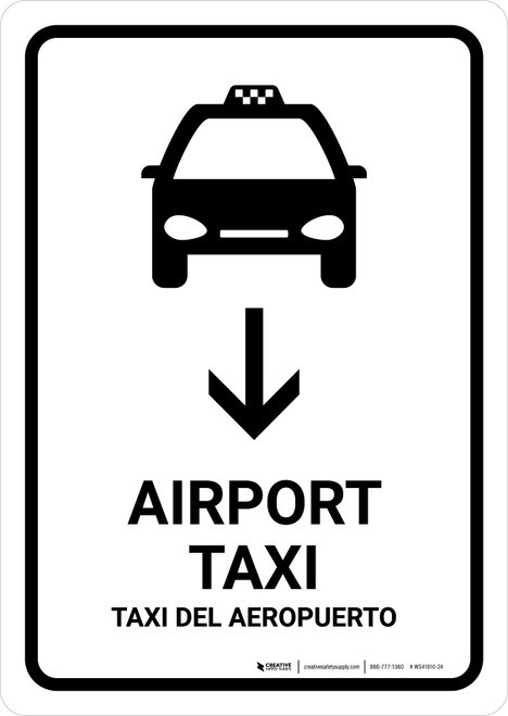 Airport Taxi With Down Arrow White Bilingual Portrait - Wall Sign