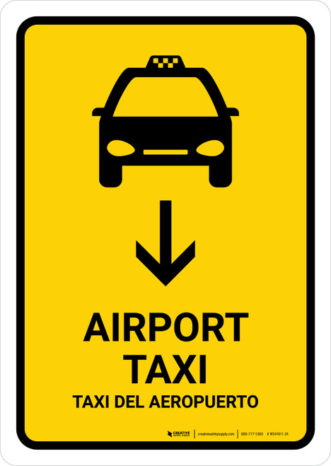 Airport Taxi With Down Arrow Yellow Bilingual Portrait - Wall Sign