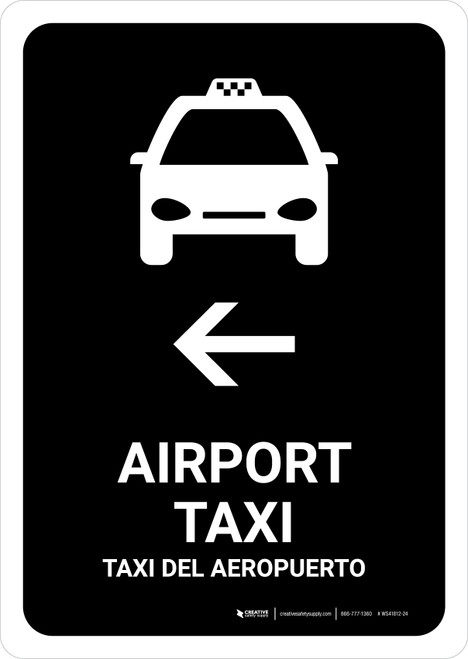 Airport Taxi With Left Arrow Black Bilingual Portrait - Wall Sign