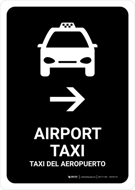 Airport Taxi With Right Arrow Black Bilingual Portrait - Wall Sign