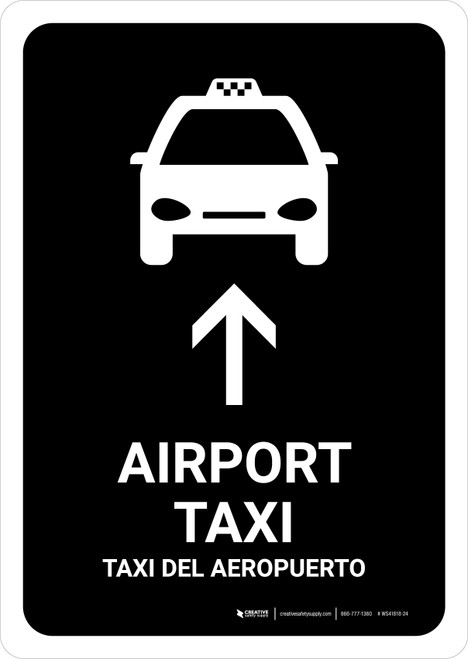 Airport Taxi With Up Arrow Black Bilingual Portrait - Wall Sign
