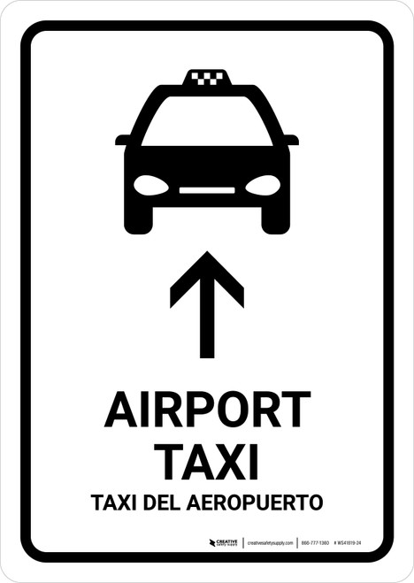 Airport Taxi With Up Arrow White Bilingual Portrait - Wall Sign