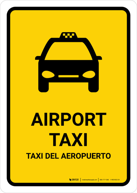 Airport Taxi Yellow Bilingual Portrait - Wall Sign