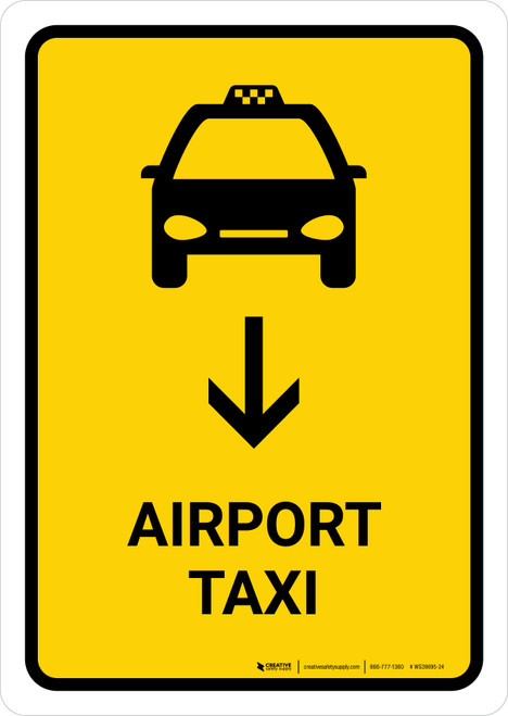 Airport Taxi With Down Arrow Yellow Portrait - Wall Sign
