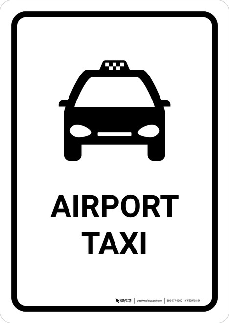 Airport Taxi White Portrait - Wall Sign