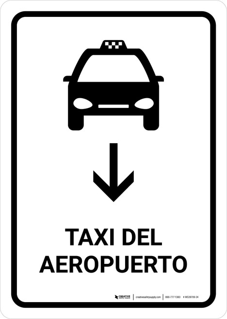 Airport Taxi With Down Arrow White Spanish Portrait - Wall Sign