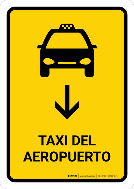 Airport Taxi With Down Arrow Yellow Spanish Portrait - Wall Sign