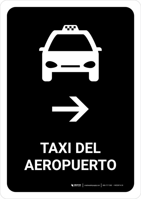 Airport Taxi With Right Arrow Black Spanish Portrait - Wall Sign