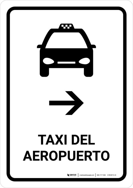 Airport Taxi With Right Arrow White Spanish Portrait - Wall Sign
