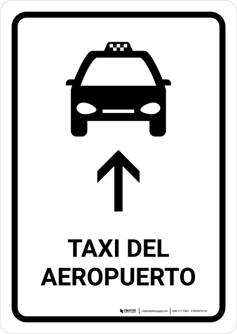 Airport Taxi With Up Arrow White Spanish Portrait - Wall Sign