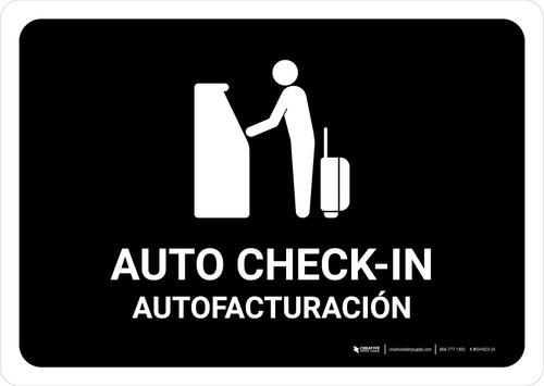 Auto Check In Black Bilingual Landscape - Wall Sign