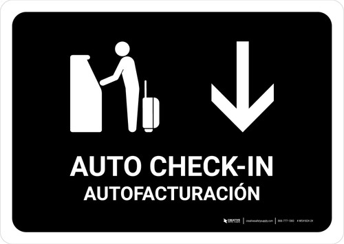 Auto Check In With Down Arrow Black Bilingual Landscape - Wall Sign
