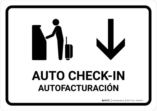 Auto Check In With Down Arrow White Bilingual Landscape - Wall Sign