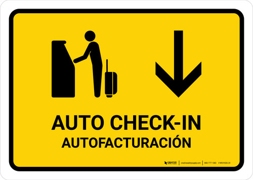 Auto Check In With Down Arrow Yellow Bilingual Landscape - Wall Sign