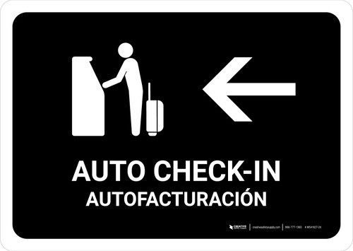 Auto Check In With Left Arrow Black Bilingual Landscape - Wall Sign