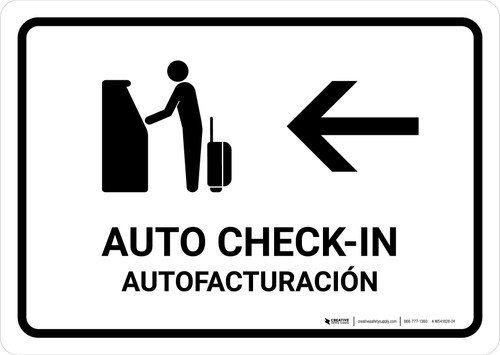 Auto Check In With Left Arrow White Bilingual Landscape - Wall Sign