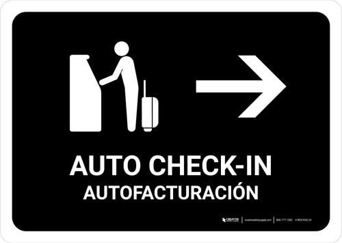 Auto Check In With Right Arrow Black Bilingual Landscape - Wall Sign