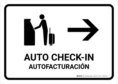 Auto Check In With Right Arrow White Bilingual Landscape - Wall Sign