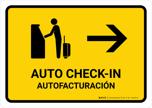 Auto Check In With Right Arrow Yellow Bilingual Landscape - Wall Sign