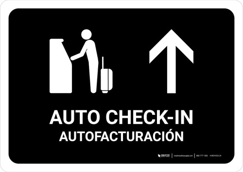 Auto Check In With Up Arrow Black Bilingual Landscape - Wall Sign