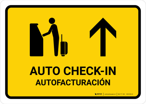 Auto Check In With Up Arrow Yellow Bilingual Landscape - Wall Sign