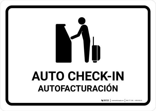 Auto Check In White Bilingual Landscape - Wall Sign