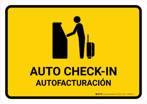 Auto Check In Yellow Bilingual Landscape - Wall Sign