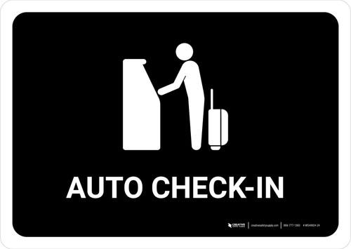 Auto Check In Black Landscape - Wall Sign