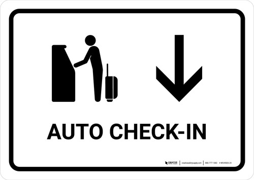 Auto Check In With Down Arrow White Landscape - Wall Sign