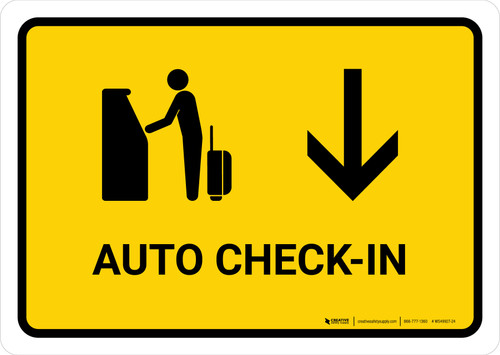 Auto Check In With Down Arrow Yellow Landscape - Wall Sign