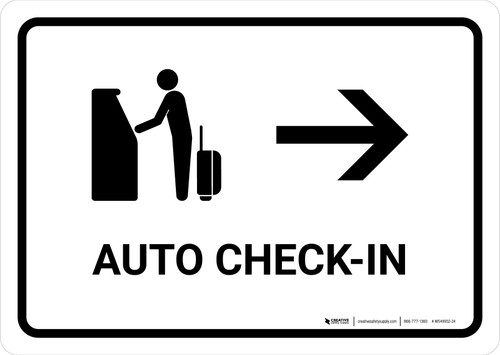 Auto Check In With Right Arrow White Landscape - Wall Sign